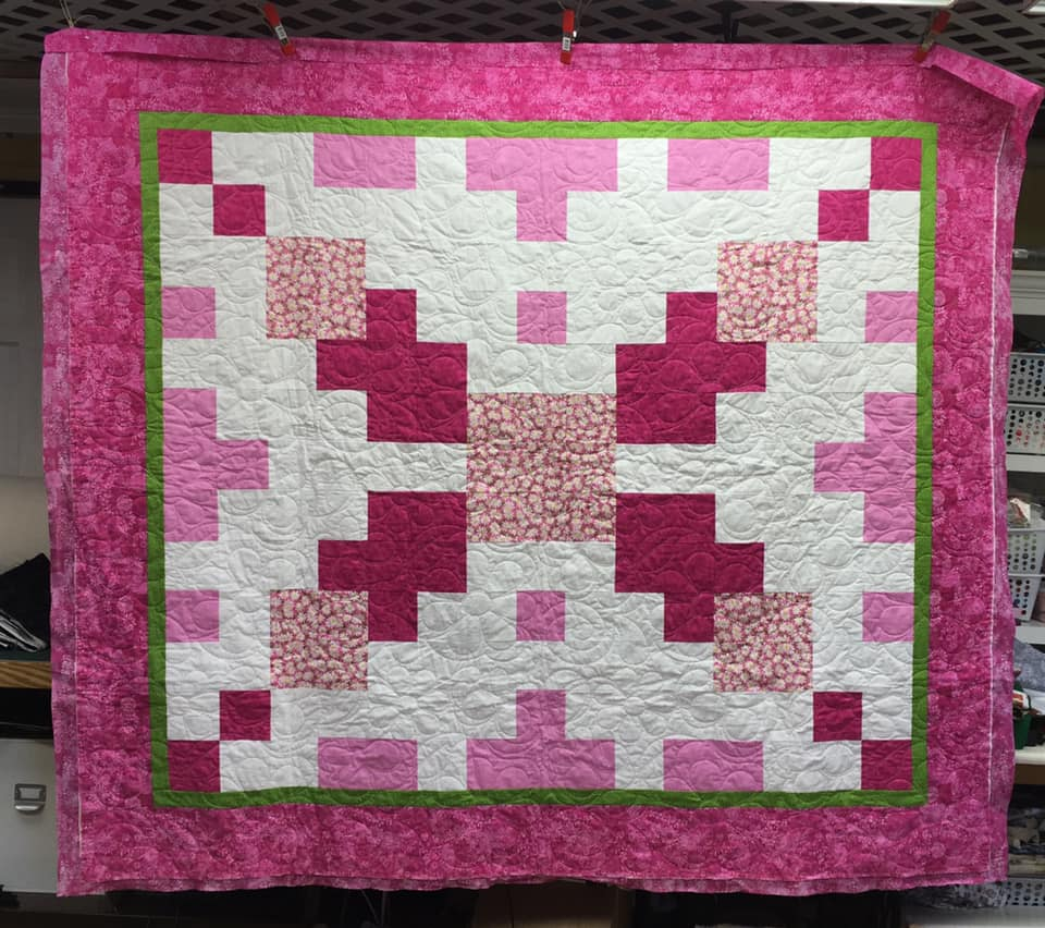pink floral cube squares quilt